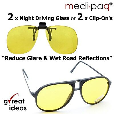 Night Driving Glasses X 2 Yellow Clip On Anti Glare Day Time Vision Polarised UK • 7.89£