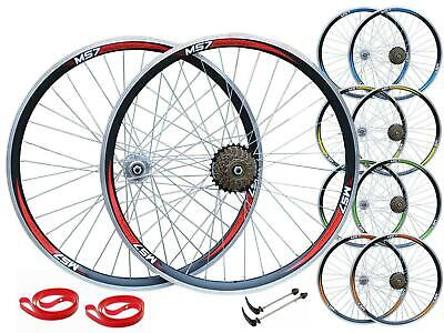 QR 26  MTB Bike Bicycle Front Rear 6/7/8/9 Speed Wheel Set Double Wall Shimano • 46.99£