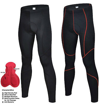 Mens Compression Cycling Tights Padded Cycle Trouser  Long Pant Racing Sports • 15.99£