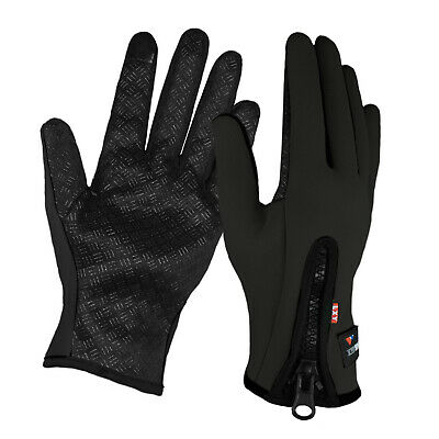 Mens Neoprene Cycling Sports Gripper Touchscreen Warm Windproof Gloves Zip • 3.99£