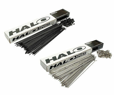 6 Halo MTB / Road DOUBLE BUTTED Spokes 14g / 2mm Black / Stainless With Nipples • 9.95£