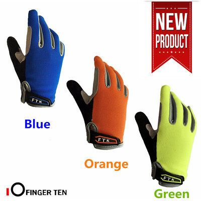 Kids Bike Gloves Full Finger Touchscreen Pad Protection Grip Cycling Junior UK • 7.68£