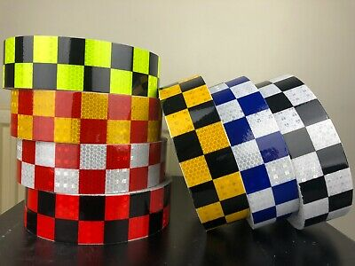 Hi Vis Viz DIY Chequer Chequered Reflective Stickers Vinyl Self-Adhesive Tape • 5.99£