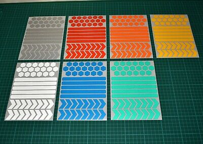 40 Mixed Reflective Hexagon Chevron Stickers - A5 Sheet - Motorbike Cycle Safety • 4.49£