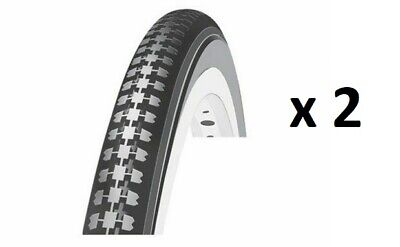 X 2 Cycle Bike Tyres All Black 26 X 1 3/8 Traditional Style Oxford Brand • 19.99£