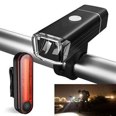 Bike Bicycle Lights USB LED Rechargeable Set Mountain Cycle Front Back Headlight • 8.99£