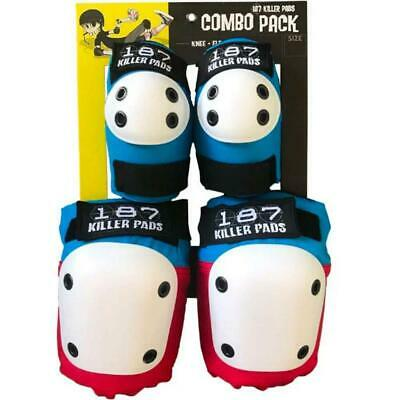 187 Killer Pads Combo Pack Knee & Elbow Red White Blue ADULT • 54.95£