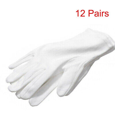 12 Pairs Soft Thin White Cotton Gloves Jewelry Silver Inspection Handling Gloves • 6.99£