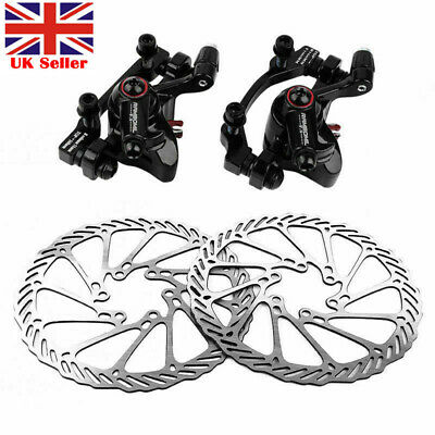 MTB Mountain Road Bike Mechanical Disc Brake Front Rear Caliper 160mm Rotors • 10.89£