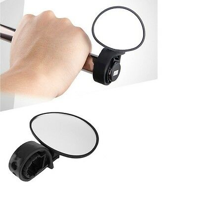 Cycling Bicycle Bike Adjustable Rear View Mirror Handlebar Rotation Safety BLACK • 3.95£
