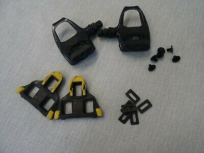 Shimano Black Metal Pedals And Yellow Cleats • 25£
