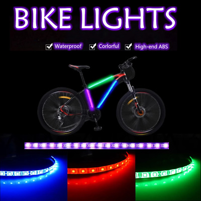 Mountain Bike Bicycle Lights Strip Frame Front Rear Lights Set, Waterproof • 6.99£