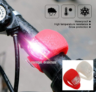 2 Led Silicone Mountain Bike Bicycle Front Rear Lights Set Push Cycle Light Clip • 2.29£