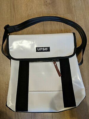 Upso Courier Messenger Cycling Commuting Bag Recylced Tarpaulin White 28 X 35 Cm • 10£