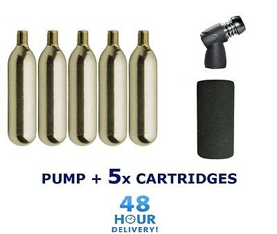 Bike CO2 Pump Cycle Tyre Tube Inflator Presta Schrader 5 X 16g Gas Cylinders • 12.39£