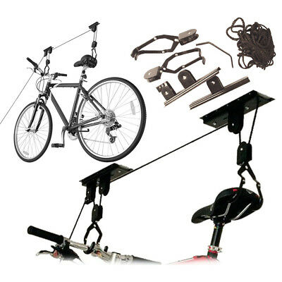 Bike Bicycle Ceiling Hanger Lift Pulley Hoist Storage Stand Garage Rack 20KG • 10.99£