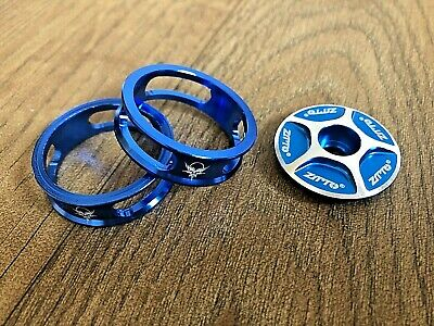 Blue Stem Top Cap + 2 X 10mm Headset Spacers 1⅛  Fits MTB BMX Road Bike #212 • 5.99£