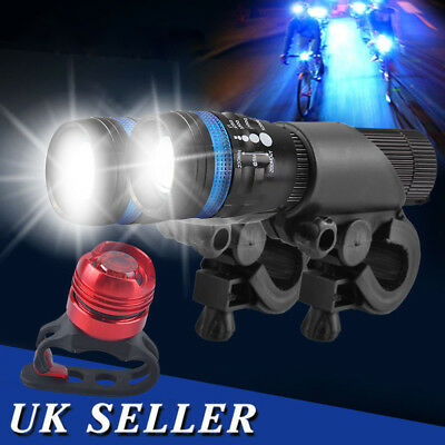 2x Front Zoom LED Mountain Bike Zoomable Head Front Lights SET + Alu Rear Light • 7.09£