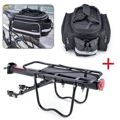 Bicycle Rear Seat+Bag MTB Pannier Carrier Rack  Kits+Removable Carry Saddle UK • 36.99£