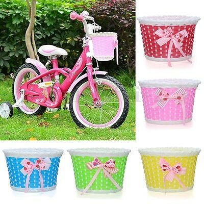 Bike Flowery Front Basket Bicycle Cycle Shopping Stabilizers Children Kids Girls • 6.69£