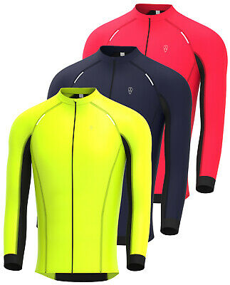 Mens Cycling Jersey Long Sleeve Thermal Windproof Softshell Jacket For Biking • 17.99£