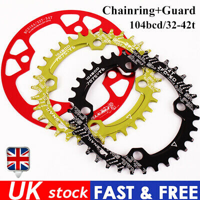 Narrow Wide Single Chainring Guard 32-42t 104bcd MTB Bike Fit Shimano Crankset • 19.65£
