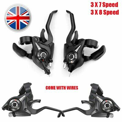 Shimano ST-EF51 3 X 7,8 Speed Brake/Shifter Combo Lever Set With Gear Cables UK • 10.44£