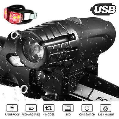 BRIGHT USB Rechargeable Bike Bicycle Cycle Front LED Rear Tail Lights Light Set • 5.99£
