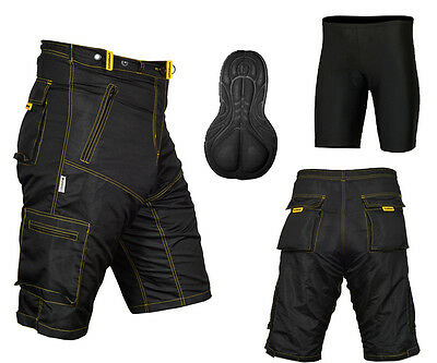MTB Cycling Shorts,Mountain Bike,Off Road,Cool Max Padded Inner Lycra Liner(Y/S) • 24.99£