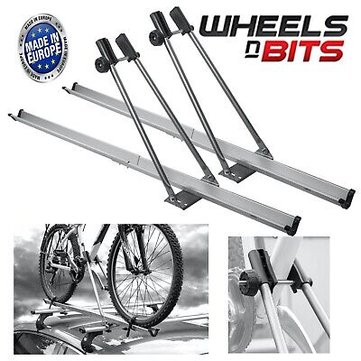 2x Aluminium Universal Car Roof Bicycle Bike Carrier Upright Mounted Cycle Rack • 49.99£