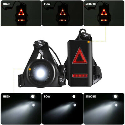 Running Light USB Rechargeable Body Torch LED Waterproof Safety Lamp W/Taillight • 9.99£