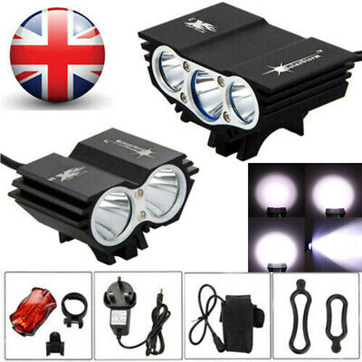 Rechargeable LED Mountain Bike Lights 18650 Bicycle Torch Front & Rear Lamp Set • 13.99£