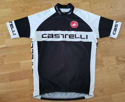Castelli Zipped Front Cycling Jersey Large Black & White Road Racing Bike Top • 9.99£