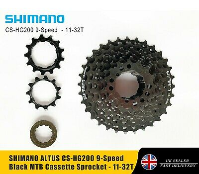 SHIMANO ALTUS CS-HG200 9-Speed Black MTB Cassette Sprocket - 11-32T • 19.99£