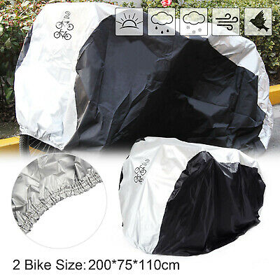 Bicycle Cover 2 Bikes Cycle Rain Covers Waterproof Heavy Duty Dust Sun Resists • 8.09£