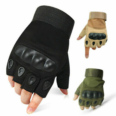 Tactical Hard Knuckle Half Finger Gloves - Army Military Airsoft Work Fingerless • 2.99£
