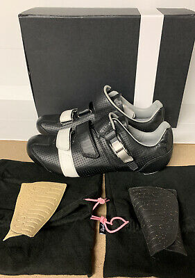 Rapha GT Grand Tour Shoes Black White Leather Size 10.5 UK 45.5 EU New Boxed • 250£