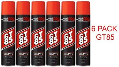 6 X GT85 PTFE LUBRICANT SPRAY AEROSOL CHAIN OIL LUBE 400ml+60ml WATER DISPLACER • 16.88£