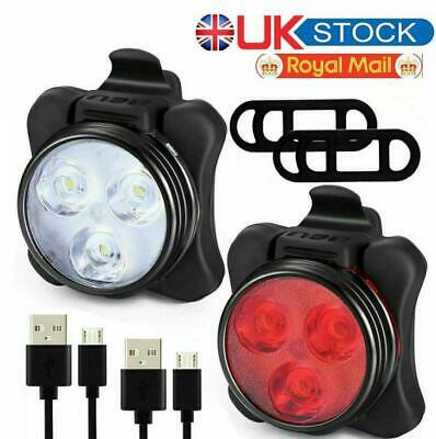 Bike Light Set, Super Bright USB IP54 RECHARGEABLE Bicycle, Free Mask Kids Adult • 11.89£