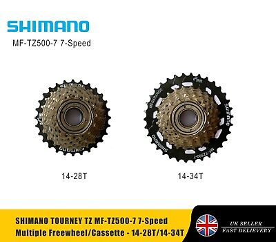 SHIMANO TOURNEY TZ MF-TZ500-7 7-Speed Multiple Freewheel/Cassette - 14-28/14-34T • 16.49£
