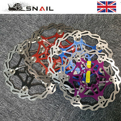 SNAIL MTB Bike 160mm/180mm/203mm Floating Disc Brake Rotor 6 Bolts Brake Pads UK • 9.89£