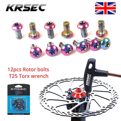 KRSEC MTB/Road Bike Rotor 12PCS Screws Disc Brake Rotor Bolts T25 Torx Wrench UK • 6.59£