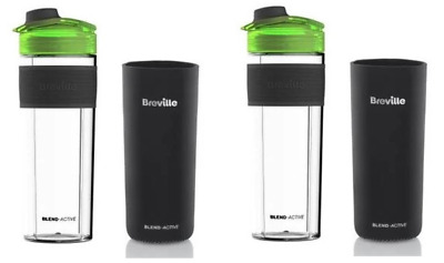 Set Of 2 Breville Blend-Active Pro 500ml Bottles W/ Neoprene Sleeve VBL140  • 14.99£