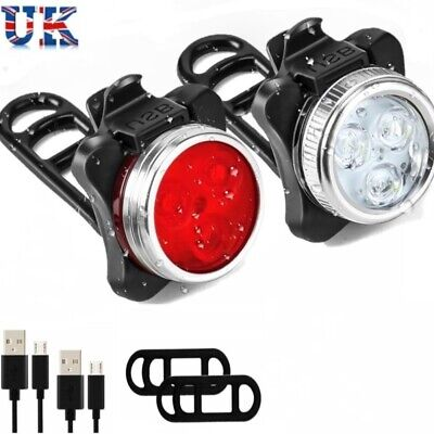 Rechargeable USB LED Bike Bicycle Head And Tail Cycling Front Back Headlight Set • 8.99£