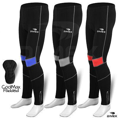 Mens Cycling Tights Winter Thermal Padded Pants Cycle Long Trouser Legging NEW • 15.29£