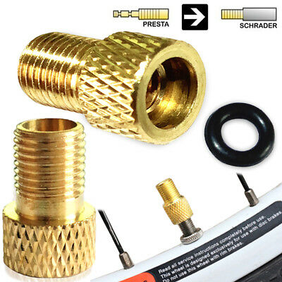 2 X BRASS ADAPTOR PRESTA TO SCHRADER BICYCLE VALVE CONVERTER BIKE PUMP CONNECTOR • 1.99£