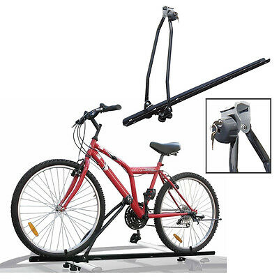 Universal Car Roof Bar Mounted Bicycle Carrier Upright Bike Rack Cycle Locking • 29.99£
