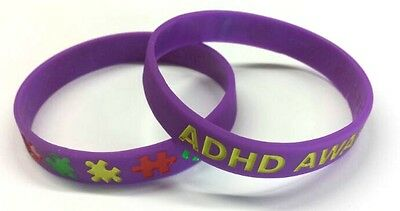 ADHD Awareness Wristband Bracelet Autism Purple Silicone Rubber Support Charity • 1.75£