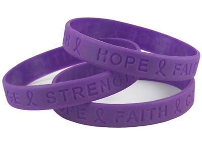 Cystic Fibrosis AWARENESS Charity Wristband Bracelet Purple Silicone • 9.99£