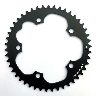 Stronglight Bike Chain Ring Dural 5083 130 BCD Shimano 9 10 Speed 46T Black • 22.99£